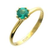 Кольцо с круглым изумрудом (сапфиром, рубином), желтое золото 750 проба