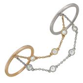 Кольцо Панье с браслетом, фианиты, красное и белое золото