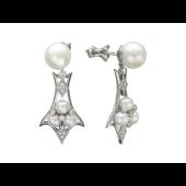 Серьги-пусеты с жемчугом и бриллиантами, узорный подвес, белое золото