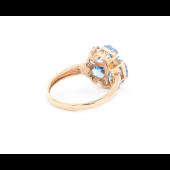 Кольцо Цветок с топазами и фианитами, красное золото