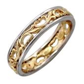 Кольцо обручальное Королевские Тюльпаны, желтое и белое золото, 585 пробы 6мм
