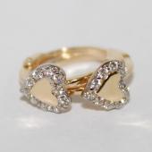 Серьги-кольца Сердечки с фианитами, желтое золото, 585 пробы 12мм