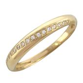 Кольцо, дорожка с фианитами по диагонали, желтое золото