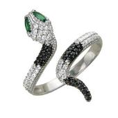 Кольцо Змея с белыми и черными фианитами, глаза синие и зеленые, белое золото