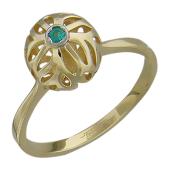 Кольцо Азия, ажурный фонарик с изумрудом, желтое золото