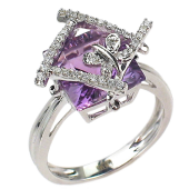 Кольцо Бабочка с бриллиантами и квадратным топазом, белое золото