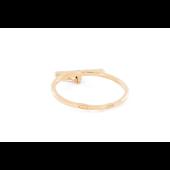Кольцо с подвеской буква О и фианитами, красное золото
