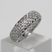 Кольцо обручальное премиум, усыпано бриллиантами в квадратных держателях, белое золото 750 проба 6мм
