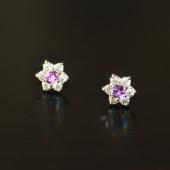 Пусеты Цветок с аметистом и фианитами, серебро