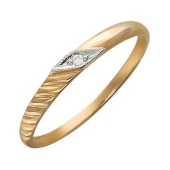 Обручальное кольцо с бриллиантом, красное золото