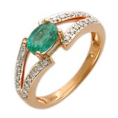 Кольцо с бриллиантами и овальным изумрудом, красное золото