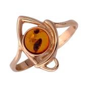 Кольцо с круглым янтарем, красное золото