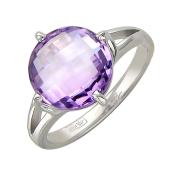 Кольцо с полудрагоценным камнем круглой формы, белое золото