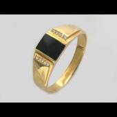 Мужское кольцо, оникс квадрат и десять фианитов по краям, красное золото, 585 пробы