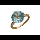 Золотое кольцо с полудрагоценным камнем и фианитом