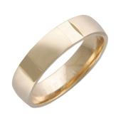 Кольцо обручальное Гайка с канавками, красное золото h=5.5 mm