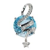 Кулон Звезда с бриллиантами и круглым полудрагом, белое золото
