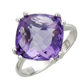 Кольцо с полудрагом формы бриолетт антик, белое золото