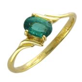 Кольцо с овальным изумрудом (рубином), желтое золото 750 проба