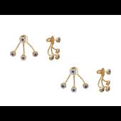 Серьги-джекеты Цветочки с цветными фианитами, красное золото