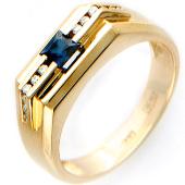 Мужское кольцо, сапфир и бриллианты, красное золото 585 проба