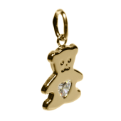 Кулон Мишка с фианитом в сердце, желтое золото