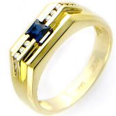 Мужское кольцо, сапфир и бриллианты, желтое золото, 750 проба