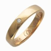 Кольцо обручальное с бриллиантом в центре, широкий торец, красное золото 4.5mm