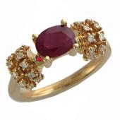 Кольцо Роскошь с овальным изумрудом и бриллиантами, красное золото