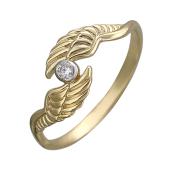 Кольцо Крылья Ангела с бриллиантом, желтое золото