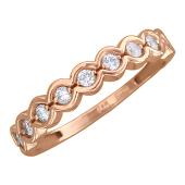 Кольцо Дорожка с фианитами, красное золото