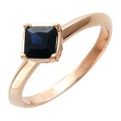 Кольцо с квадратным изумрудом/сапфиром, красное золото