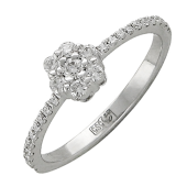 Кольцо помолвочное с бриллиантами, белое золото