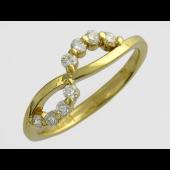 Кольцо Бесконечность с бриллиантами, желтое золото 750 проба
