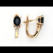 Серьги с бриллиантами и овальным рубином (сапфиром), красное золото