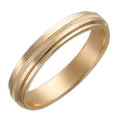 Кольцо обручальное с тонкой резьбой, красное золото 3.9 мм