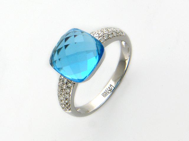 Кольцо с бриллиантами и большим топазом, белое золото