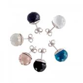 Серьги пусеты Шар с гранями (черный, сиреневый, бирюзовый, розовый, прозрачный), серебро