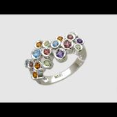 Кольцо с цветными камнями в круглых оправах (аметист, гранат, топаз, хризолит, цитрин), белое золото