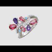 Кольцо Бабочки с бриллиантами, аметистами и топазами, белое золото