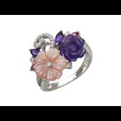 Кольцо Розы с бриллиантами, аметистами, турмалином и перламутром, белое золото