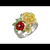 Кольцо Цветы с бриллиантами, агатом, перидотом и перламутром, белое золото