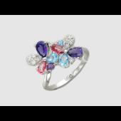 Кольцо Цветы с аметистами и топазами, бриллианты, белое золото