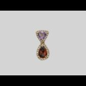 Кулон Роял с бриллиантами, аметистом и гранатом, красное золото
