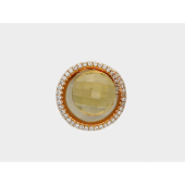 Кулон круглый с цитрином и бриллиантами, красное золото