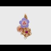 Кулон Цветы с бриллиантами, рубином, перламутром, кварцем и топазами, красное золото