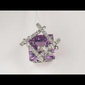 Кулон, бриллианты с бабочкой и с квадратным полудрагом, белое золото, 585 пробы