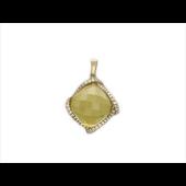Кулон с бриллиантами и цитрином, желтое золото