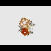 Кулон Букет Цветов с бриллиантами, агатом и перламутром, комбинированное золото