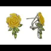 Серьги Роза с перидотом, перламутром и бриллиантом, белое золото